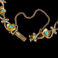 Antique Victorian Turquoise Heart Forget Me Not Bracelet 9ct Gold With Box c 1880 (6 of 9)