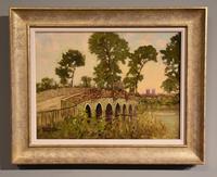"""Oil Painting by Godwin Bennett """"Winbourne from the Bridge, Dorset"""""""
