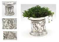 Flared Top Silver Plant Pot with Cherub Decoration - London 1898 (7 of 7)