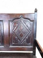 Antique Carved Oak Settle Bench (6 of 10)