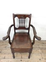 Antique Edwardian Mahogany Commode Armchair (3 of 9)