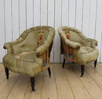 Pair of Antique French Pie Crust Tub Armchairs for re-upholstery