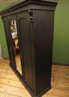 Antique Black Painted Triple Linen Press Wardrobe in 4 Parts, Gothic Shabby Chic (16 of 19)
