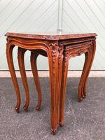 Quality Burr Walnut Nest of 3 Tables (4 of 10)