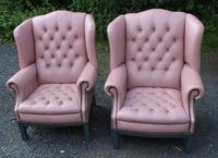 Pair of Lilac Leather Wingback Armchairs with Buttoned Backs