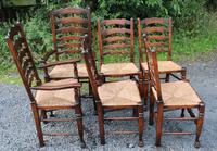 1960s Set 6 Ash Ladder Back Dining Chairs 4+2 Carvers (2 of 3)