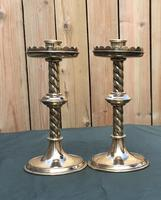 Pair of Arts and Crafts Brass Altar / Church Candlesticks (3 of 5)