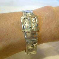 """Vintage Silver Buckle Bangle 1977 Ornate Silver Bracelet 7"""" Length 34.9 Grams (4 of 12)"""