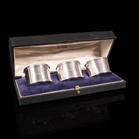 Antique Set of Napkin Rings, English, Silver, Tableware, Hallmark, Chester, 1921 (2 of 12)