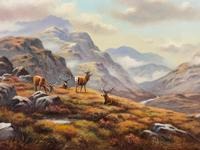"""Oil Painting Scottish Stags """"Denizens of the Highlands"""" Signed Wendy Reeves (5 of 45)"""