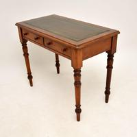 Antique Victorian Walnut Leather Top Writing Table / Desk (8 of 10)