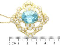 22.32ct Aquamarine, 7.62ct Diamond & 18ct Yellow Gold Pendant - Vintage c.1950 (6 of 9)