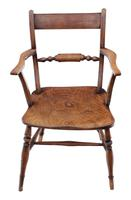 Matched Set of 8 Elm & Beech Kitchen Dining Chairs Mid-19th Century Oxford Knife-back (3 of 8)