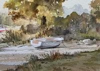 Superb Quality 20th Century Vintage Boats Estuary Seascape Watercolour Painting (9 of 11)