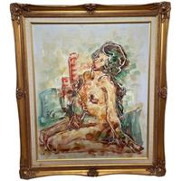 """Impressionism Oil Painting Thailand School """"Posing Nude Lady"""""""