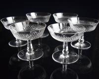 6 French Crystal Champagne Coupes c.1920 (3 of 5)