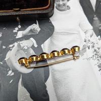 Antique 9ct Yellow Gold Six Amethyst Bar Brooch, Victorian Edwardian 9K Pin (6 of 8)