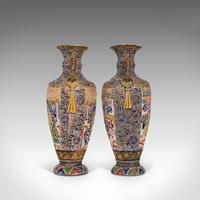 Pair Of Tall Antique Satsuma Vases, Japanese, Ceramic, Decorative, Moriage, 1900 (12 of 12)