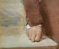 Frederick Cruickshank Fine Watercolour Portrait Painting of Gent (10 of 12)
