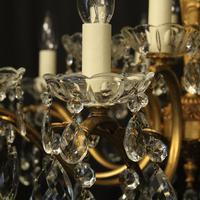 Italian 15 Light Gilded Brass Antique Chandelier (4 of 10)