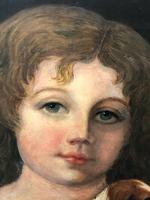 """Genre 19th Century Oil Painting Portrait Young Girl & Cavalier King Charles Spaniel """"Faithful Friend"""" (4 of 12)"""