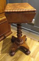 Exceptional Tea Poy Tea Caddy on Stand Burr Walnut (3 of 7)