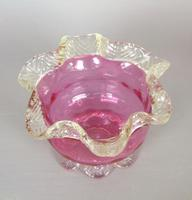 Victorian Hand Blown Cranberry Glass Crimped Edge Bowl (2 of 3)