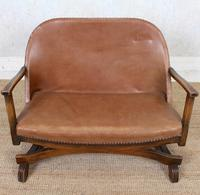 Carved Oak Leather Bucket Sofa & Chair (4 of 24)