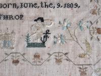 English Needlework Sampler by Jane Whitaker, Aged 11, 1820, Lake District (2 of 6)