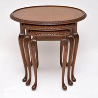 Antique Burr Walnut Nest of Three Tables (10 of 10)
