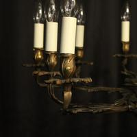 French Gilded Brass 10 Light Antique Chandelier (9 of 10)