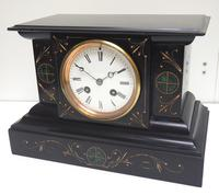 Very Fine French Slate & Marble Mantel Clock Classic 8 Day Striking Mantle Clock (10 of 13)