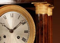 A Very Stylish Charles X Rosewood/Palisandre Inlaid With Lemon Wood and Ormolu Portico Clock Circa: 1830 (2 of 15)