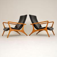 Pair of Vintage Leather Armchairs in the Manner of Vladimir Kagan (3 of 15)