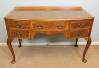 Burr Walnut Bow Front Writing Side Table
