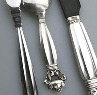 Good Sterling Solid Silver Georg Jensen Acorn Serving Set c.1945+ (5 of 6)