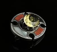 Antique Scottish Agate and Citrine Brooch, Sterling Silver (2 of 11)