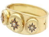 0.49ct Diamond & 18ct Yellow Gold Triple-locket Bangle - Antique c.1880 (4 of 12)