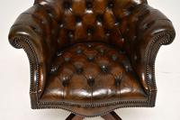 Antique Victorian Style Leather Swivel Desk Chair (5 of 12)