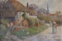 Good Late 19th Early 20th Century Watercolour Village Scene - S E Hall (3 of 7)