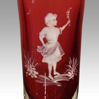 Pair of Mary Gregory Cranberry Glass Vases (2 of 5)