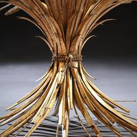 Mid 20th Century Gilt Metal Wheat Sheaf Table With Glass Top (5 of 7)