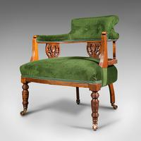 Antique Tub Chair, English, Velvet, Mahogany, Elbow, Seat, Edwardian c.1910 (3 of 12)