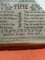 """Large Antique Needlework Sampler 1837 Elizabeth Starkey. in Frame 20"""" x 20"""" (2 of 12)"""