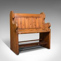 Antique Love Seat, English, Pine, Bench, Pew, Ecclesiastic Taste, Victorian