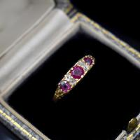 Antique Ruby & Old Cut Diamond 18ct 18K Yellow Gold Scroll Ring (2 of 9)