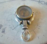 Antique Pocket Watch Chain Silver Compass Fob 1890s Victorian Working Drum Case Fob (9 of 10)
