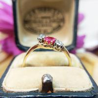 Vintage 18ct Gold Ruby & Diamond Three Stone Bypass Ring (4 of 7)