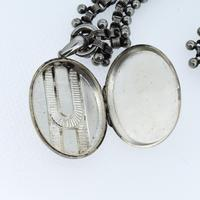 Antique Victorian Aesthetic Large Sterling Silver Locket & Collar Necklace (7 of 8)