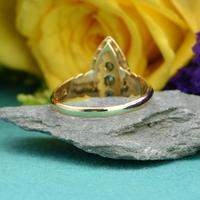 The Antique Edwardian 1905 Sapphire & Diamond Navette Gold Ring (4 of 7)
